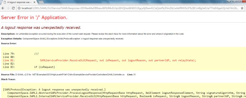 SAML SLO -> on SAML logout getting error